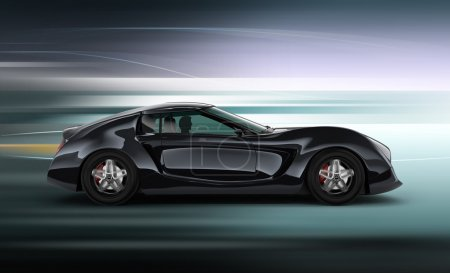 Side view of black sports car with motion blur background. Original design.