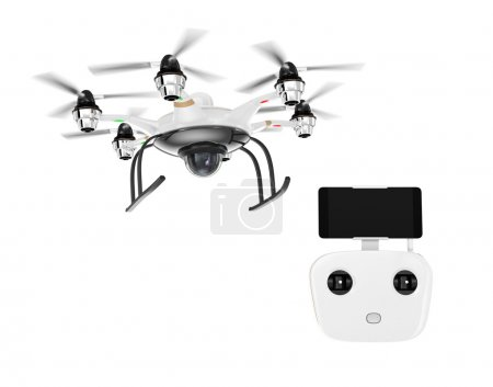 Hexacopter and remote controller isolated on white background