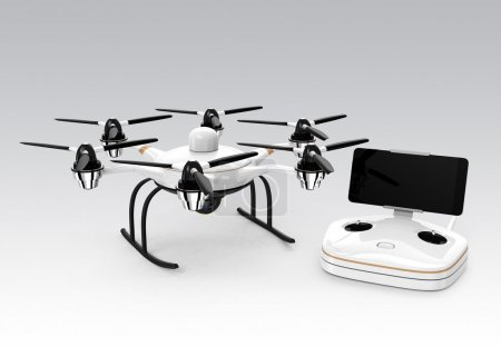Hexacopter and remote controller isolated on gray background