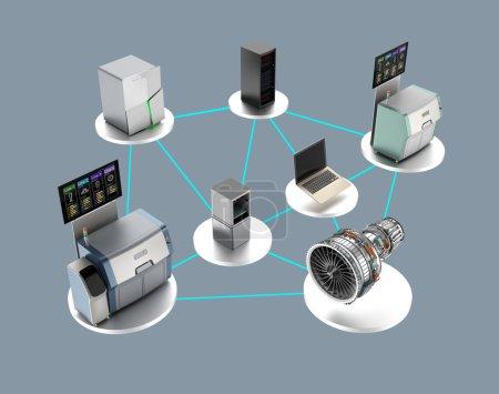 Illustration für Smart Factory Konzept. Steckpfad vorhanden.