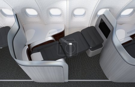 Close-up of luxurious business class seat with frosted acrylic partition.