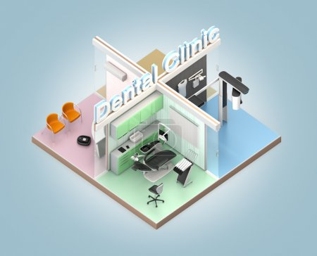Isometric view of dental clinic. 3D rendering image with clipping path
