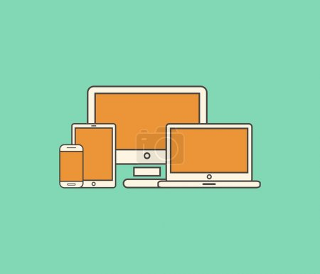 Photo pour Illustration en ligne plate du web design responsive - image libre de droit