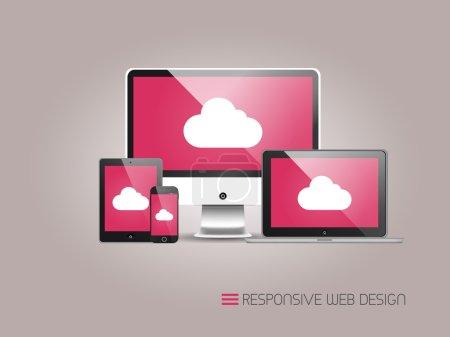 Photo pour Illustration de la conception Web sensible comme on le voit sur écran de bureau, ordinateur portable, tablette et smartphone sur fond gris . - image libre de droit