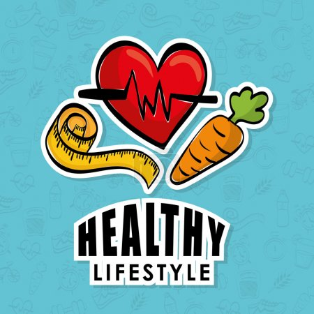 Healthy lifestyle icon concept with icon design, v...