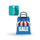 Prodejní a maloobchodní design. Nákupní ikona. Bílé pozadí, vektor