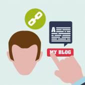 Blogování konstrukce. sociální media ikony. Izolované ilustrace, vektor