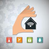 Sada ikon inteligentních domů dům