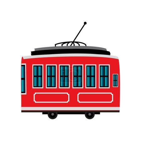 Illustration pour Tramway wagon transport icône isolée - image libre de droit