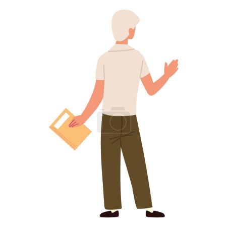 Illustration pour Back view man with folder - image libre de droit