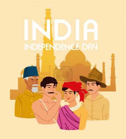 Illustration for People national heros, india independence - Royalty Free Image
