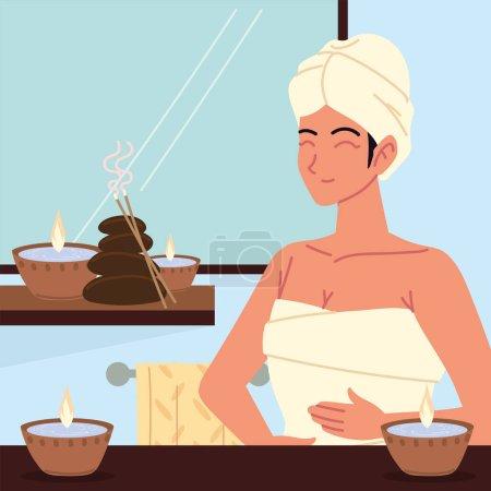 Illustration pour Happy woman in spa treatment - image libre de droit