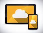 Cloud computing designu, vektorové ilustrace