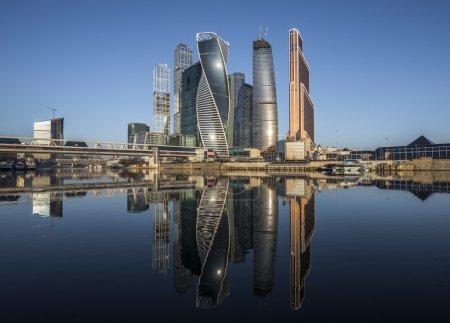 Photo for City of Moscow. Russia. Business Center Moscow City at sunrise. - Royalty Free Image