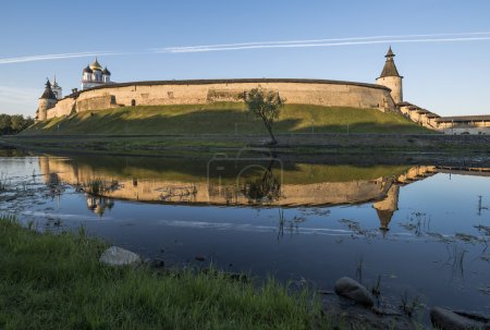 Photo for The City Of Pskov. Russia. Pskov Kremlin from the side of the Pskova river at sunrise. - Royalty Free Image