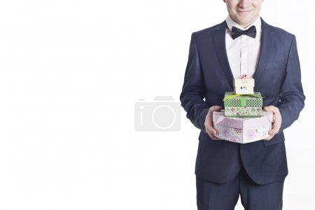 Business man with gifts (horizontal image)
