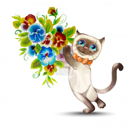 Cat with a bouquet of flowers