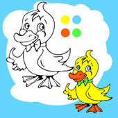 Coloring Book or Page Cartoon Illustration of Funny Goose