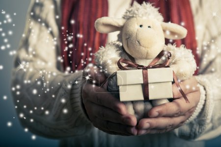Foto de Christmas and New Year concept. Hands holdimg small  magic gift box and soft toy. - Imagen libre de derechos
