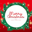 Merry Christmas and 2021 Happy New Year horizontal greeting card design with decor christmas tree fir frame and stars with text on gradient background. Flat lay, top view, art vector illustration