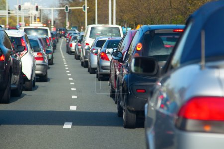 Photo for Rows of cars in a traffic jam with small depth of field - Royalty Free Image