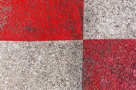 asphalt with red and white paint