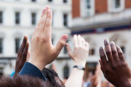 Raising hands