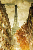 Eiffel Tower in Paris in vintage style processing