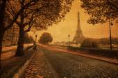 Vintage style picture of a street view in Paris