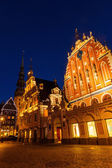 House of the Blackheads in the old town of Riga, Latvia, at night