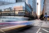 Traffic in motion blur in the financial district of Frankfurt am Main, Germany