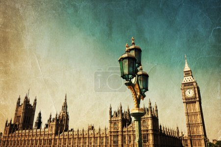 Photo for Vintage style picture of the Big Ben and Westminster Palace in London, England - Royalty Free Image