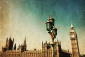 Vintage style picture of the Big Ben and Westminster Palace in London, England