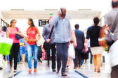 People in a shopping passage in motion blur