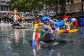 Stravinsky Fountain near Centre Pompidou in Paris, France