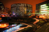 Night view of the financial district La Defense in Paris, France