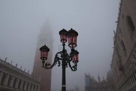 St Marks Square in Venice with dense fog