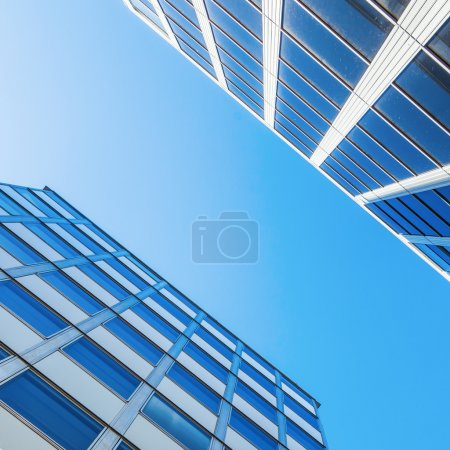 Modern office buildings in a low angle view