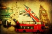 Vintage textured collage of iconic symbols of London, UK