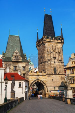Old bridge tower at the famous Charles Bridge in Prague, Czechia