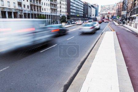 City traffic in motion blur