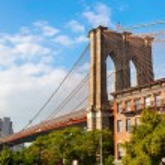 Brooklyn Bridge in Brooklyn, New York City...