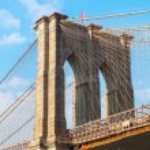 Pylon of the Brooklyn Bridge in Brooklyn, New York...
