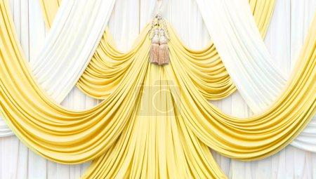 Photo pour Rideau blanc et or sur scène pour le luxueux fond - image libre de droit