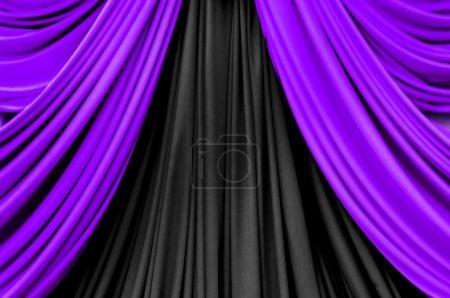 Photo pour Rideau de pourpre et noir sur scène pour le luxueux fond - image libre de droit