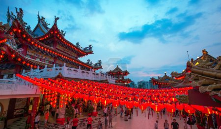 Thean Hou Temple in Kuala Lumpur at night during Chinese New Year