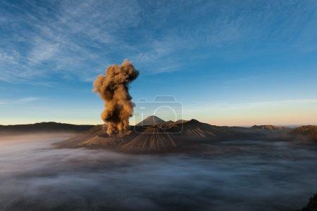 Mount Bromo erupts