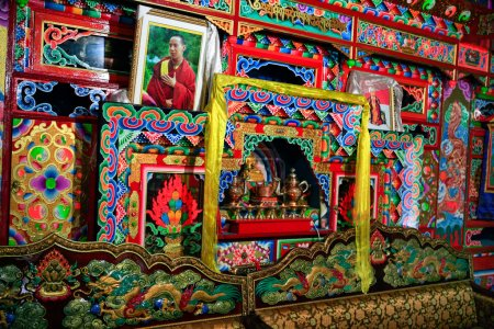 Oct 23, 2006 - Sichuan, China: Prayar altar and decorations in a