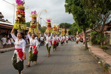 Village temple procession in Bali, Indonesia.