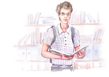 Photo pour Aquarelle garçon de peinture étudiant tient livre ouvert dans la bibliothèque. Éducation étude des connaissances concept. Collection de peintures à l'aquarelle faites à la main . - image libre de droit